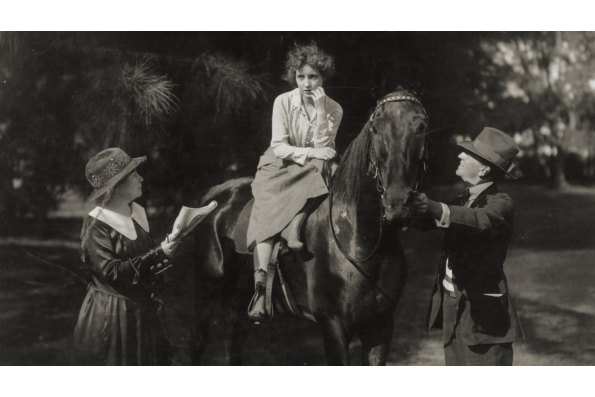 Alice Guy-Blaché (left) directing actress Bessie Love, on the set of The Great Adventure in the Florida Everglades in 1918. Courtesy of Anthony Slide.